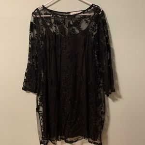 Sheer lacy black midi dress-worn once